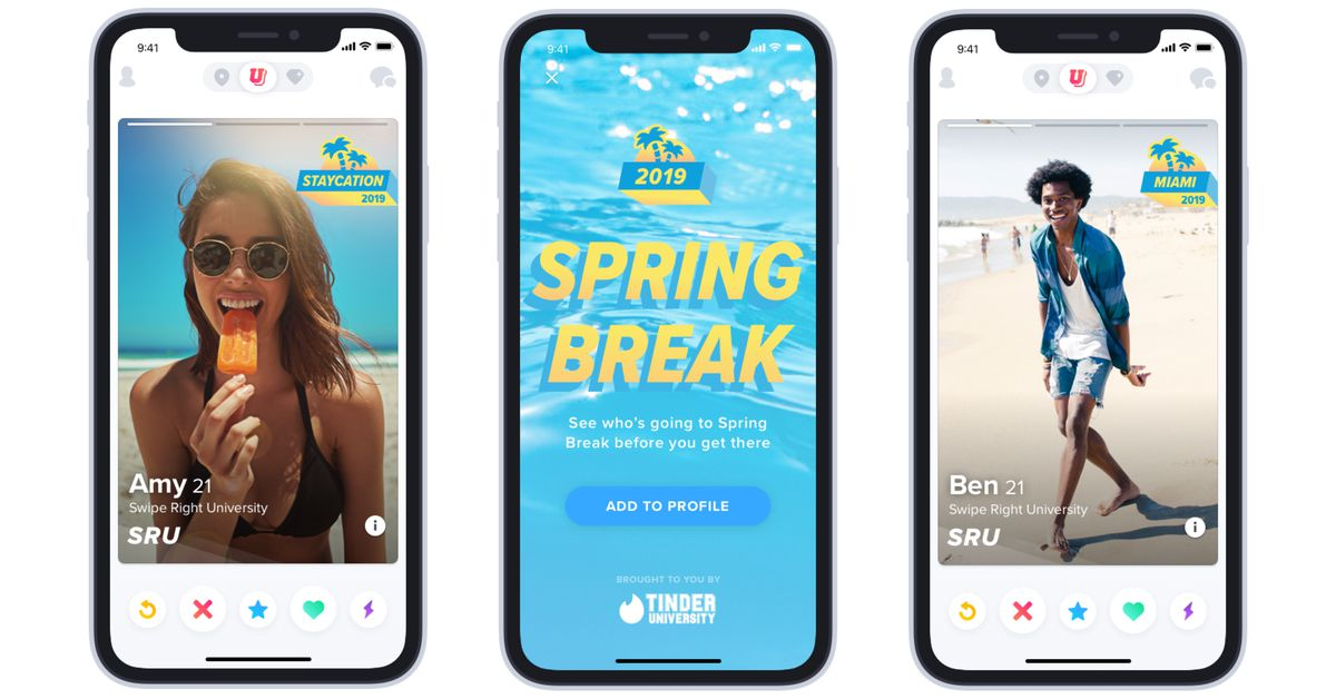 Tinder's Spring Break Mode lets college student swipe ahead of vacation